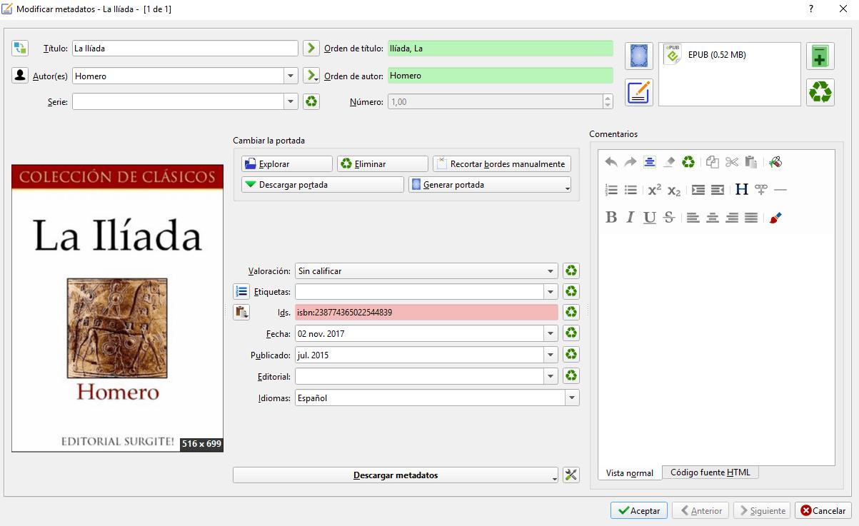 metadatos epub ebook