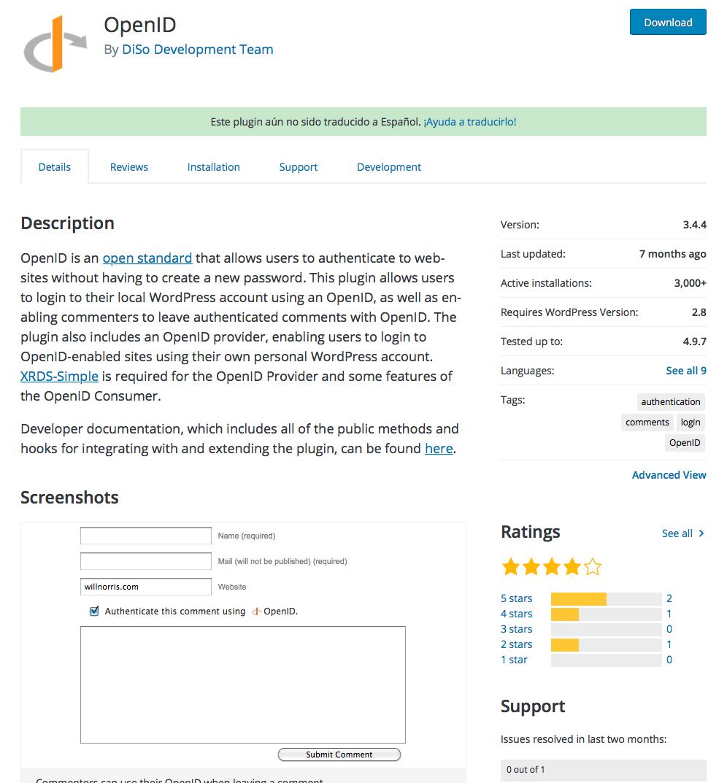 plugin comentarios OpenID