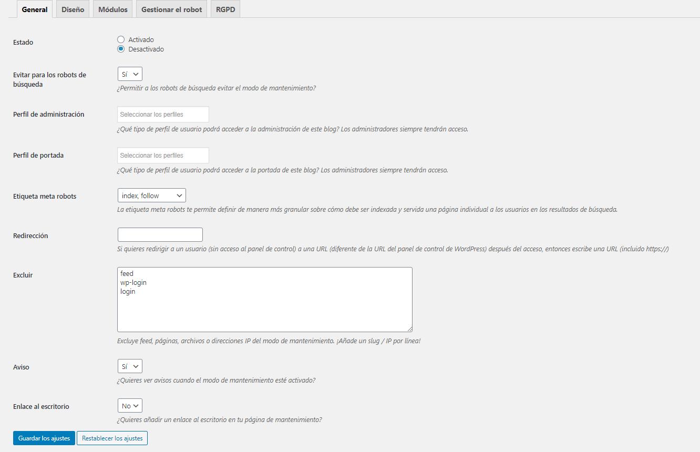 ajustes generales de WP maintenance mode